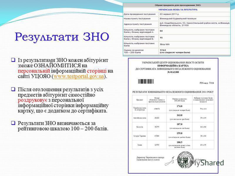 Результати ЗНО Із результатами ЗНО кожен абітурієнт зможе ОЗНАЙОМИТИСЯ на персональній інформаційній сторінці на сайті УЦОЯО (www.testportal.gov.ua). Із результатами ЗНО кожен абітурієнт зможе ОЗНАЙОМИТИСЯ на персональній інформаційній сторінці на са