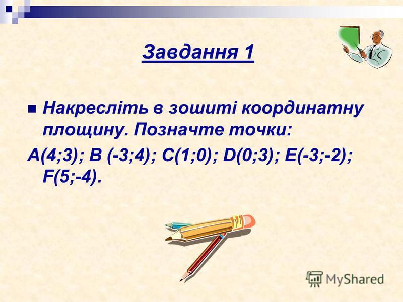 Завдання 1 Накресліть в зошиті координатну площину. Позначте точки: А(4;3); В (-3;4); С(1;0); D(0;3); E(-3;-2); F(5;-4).