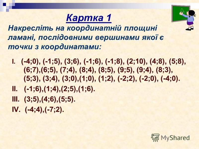 Накресліть на координатній площині ламані, послідовними вершинами якої є точки з координатами: І. (-4;0), (-1;5), (3;6), (-1;6), (-1;8), (2;10), (4;8), (5;8), (6;7),(6;5), (7;4), (8;4), (8;5), (9;5), (9;4), (8;3), (5;3), (3;4), (3;0),(1;0), (1;2), (-