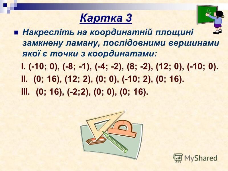 Накресліть на координатній площині замкнену ламану, послідовними вершинами якої є точки з координатами: І. (-10; 0), (-8; -1), (-4; -2), (8; -2), (12; 0), (-10; 0). ІІ. (0; 16), (12; 2), (0; 0), (-10; 2), (0; 16). ІІІ. (0; 16), (-2;2), (0; 0), (0; 16