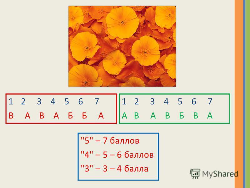 12 3 4 5 6 7 В А В А Б Б А 12 3 4 5 6 7 А В А В Б В А 5 – 7 баллов 4 – 5 – 6 баллов 3 – 3 – 4 балла