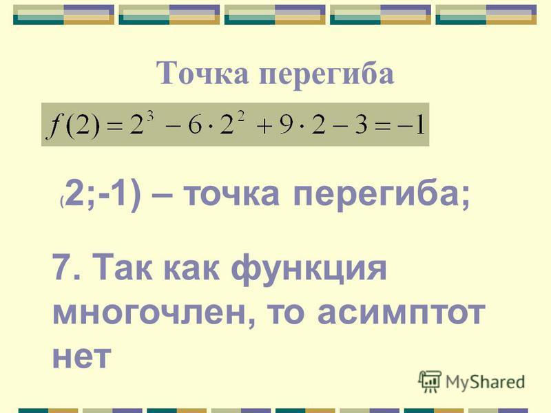 Точка перегиба ( 2;-1) – точка перегиба; 7. Так как функция многочлен, то асимптот нет