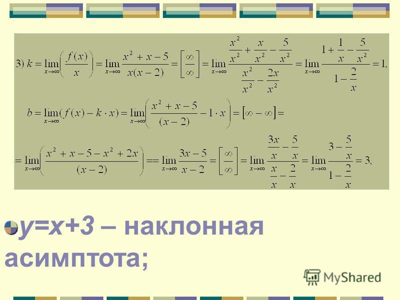 у=х+3 – наклонная асимптота;