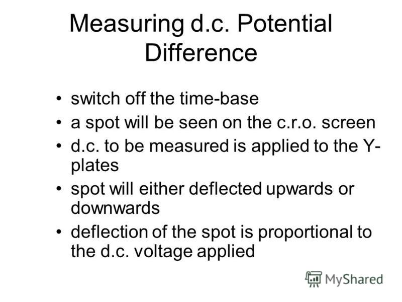 Uses of c.r.o. Measure potential difference –d.c. –a.c. Display waveforms of alternating p.d. Measure short intervals of time, and Compare frequencies