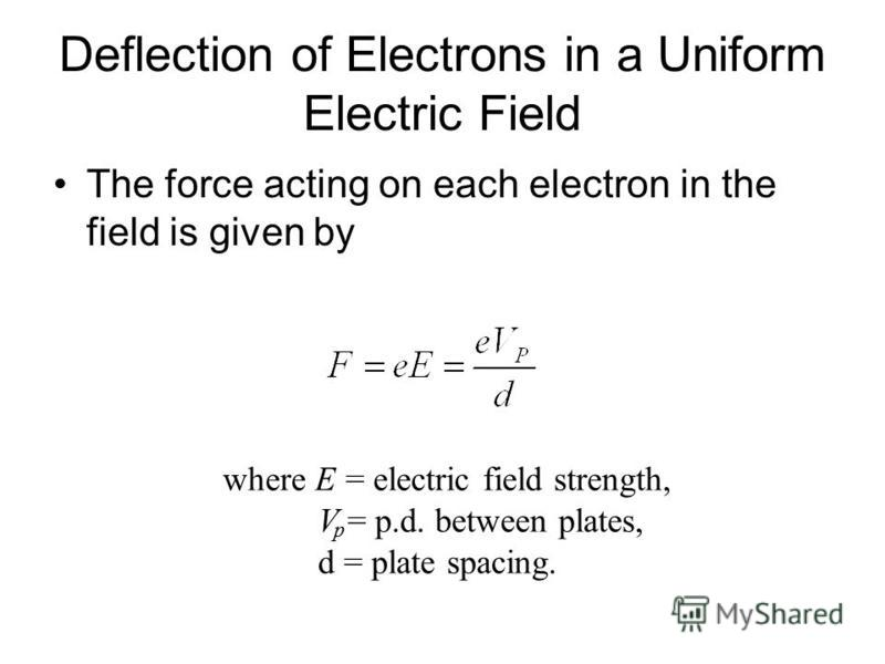 Deflection of Electrons in a Uniform Electric Field Consider an electron beam directed between two oppositely charged parallel plates as shown below. With a constant potential difference between the two deflecting plates, the trace is curved towards