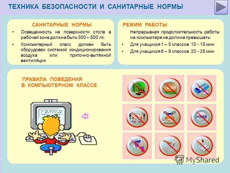 ТЕХНИКА БЕЗОПАСНОСТИ И САНИТАРНЫЕ НОРМЫ ПРАВИЛА ПОВЕДЕНИЯ В КОМПЬЮТЕРНОМ КЛАССЕ РЕЖИМ РАБОТЫ Непрерывная продолжительность работы на компьютере не должна превышать: Для учащихся 1 – 5 классов 10 - 15 мин Для учащихся 6 – 9 классов 20 - 25 мин САНИТАР