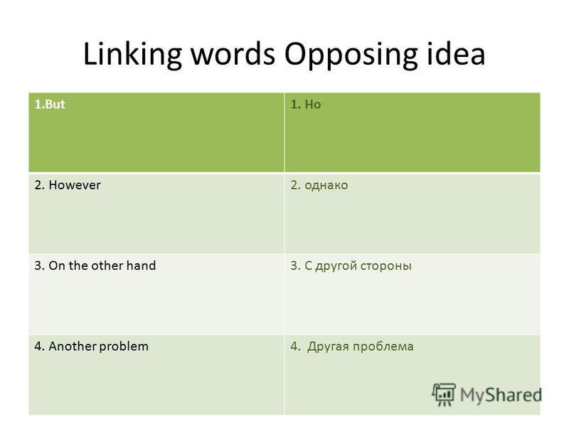 Linking words Opposing idea 1.But1. Но 2. However2. однако 3. On the other hand3. С другой стороны 4. Another problem4. Другая проблема