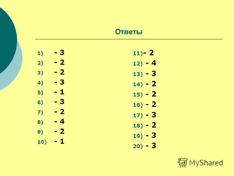 Ответы 1) - 3 2) - 2 3) - 2 4) - 3 5) - 1 6) - 3 7) - 2 8) - 4 9) - 2 10) - 1 11) - 2 12) - 4 13) - 3 14) - 2 15) - 2 16) - 2 17) - 3 18) - 2 19) - 3 20) - 3