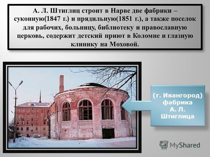 А. Л. Штиглиц строит в Нарве две фабрики – суконную(1847 г.) и прядильную(1851 г.), а также поселок для рабочих, больницу, библиотеку и православную церковь, содержит детский приют в Коломне и глазную клинику на Моховой. (г. Ивангород) фабрика А. Л.