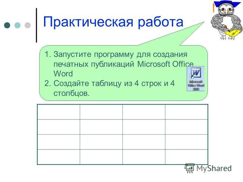 1. Запустите программу для создания печатных публикаций Microsoft Office Word 2. Создайте таблицу из 4 строк и 4 столбцов. Практическая работа