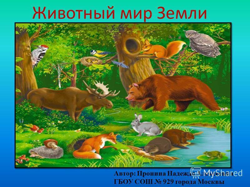 Животный мир Земли Автор: Пронина Надежда Алексеевна ГБОУ СОШ 929 города Москвы