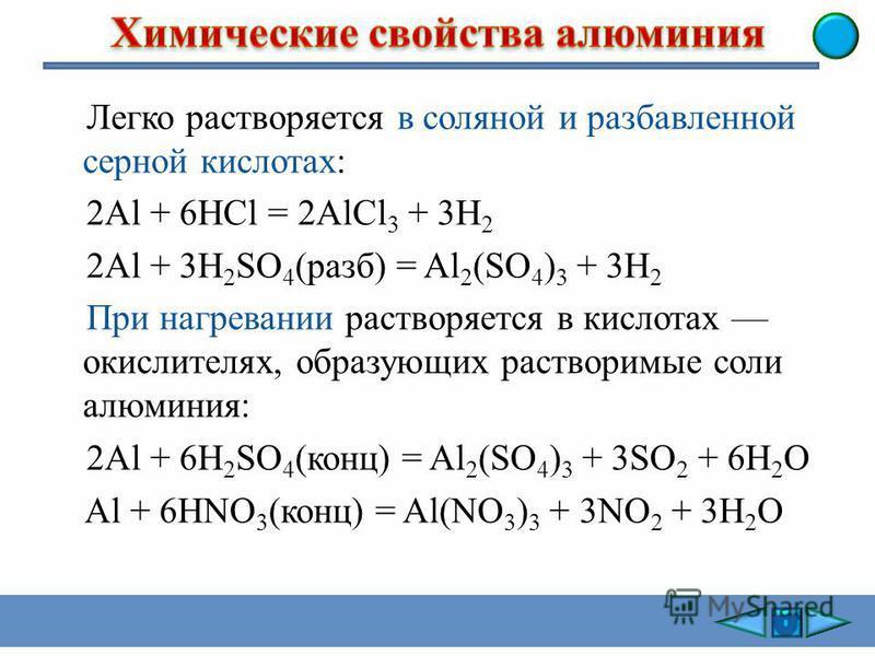 Алюминий реагирует с растворами щелочей. Сначала растворяется защитная оксидная пленка: Al 2 О 3 + 2NaOH + 3H 2 O = 2Na[Al(OH) 4 ]. Затем протекает реакция алюминия с водой: 2Al + 6H 2 O = 2Al(OH) 3 + 3H 2, NaOH + Al(OH) 3 = Na[Al(OH) 4 ], или суммар