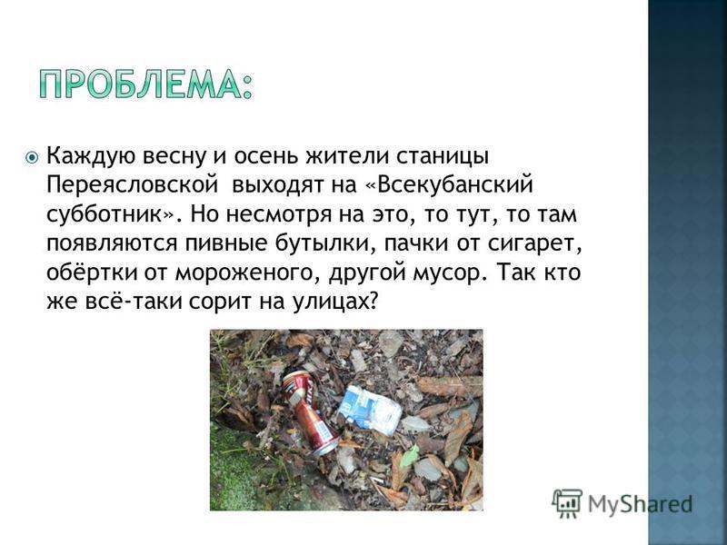 Каждую весну и осень жители станицы Переясловской выходят на «Всекубанский субботник». Но несмотря на это, то тут, то там появляются пивные бутылки, пачки от сигарет, обёртки от мороженого, другой мусор. Так кто же всё-таки сорит на улицах?