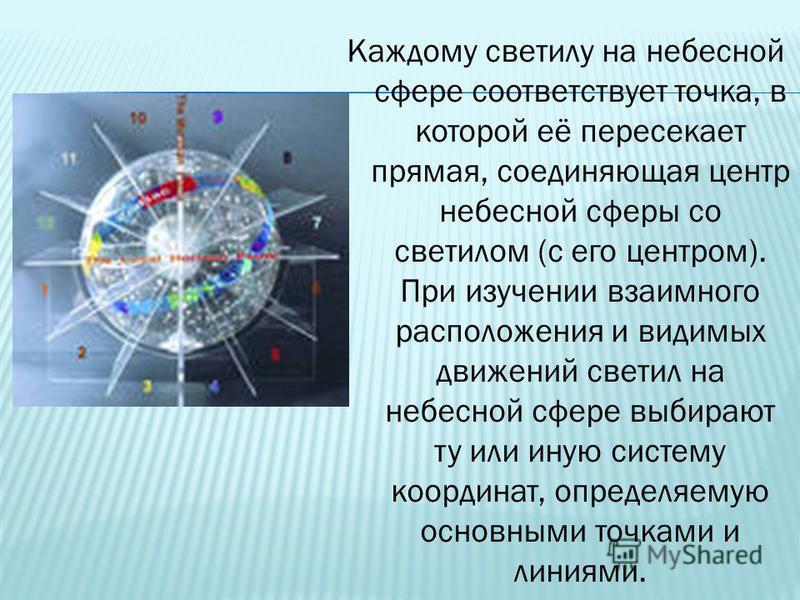Каждому светилу на небесной сфере соответствует точка, в которой её пересекает прямая, соединяющая центр небесной сферы со светилом (с его центром). При изучении взаимного расположения и видимых движений светил на небесной сфере выбирают ту или иную