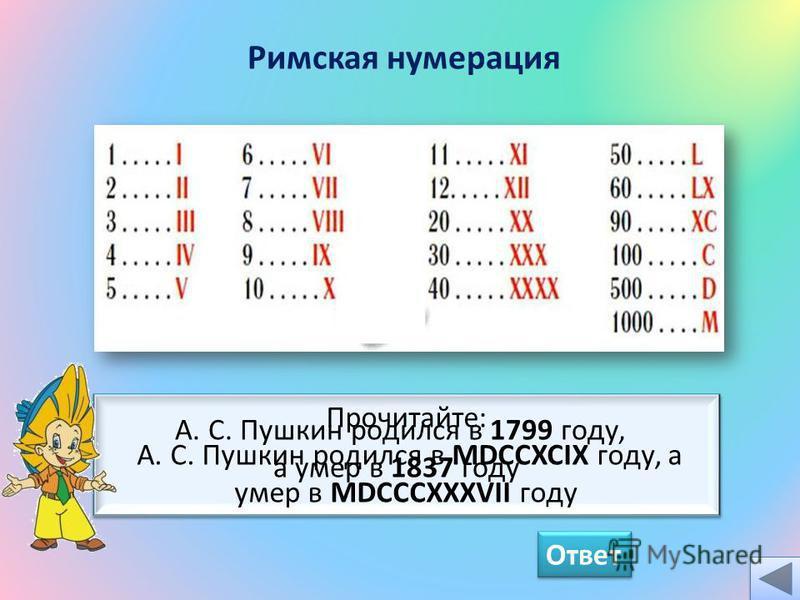 Прочитайте: А. С. Пушкин родился в MDCCXCIX году, а умер в MDCCCXXXVII году Ответ Римская нумерация А. С. Пушкин родился в 1799 году, а умер в 1837 году