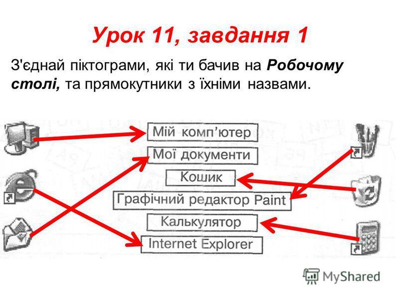 Урок 11, завдання 1 З'єднай піктограми, які ти бачив на Робочому столі, та прямокутники з їхніми назвами.