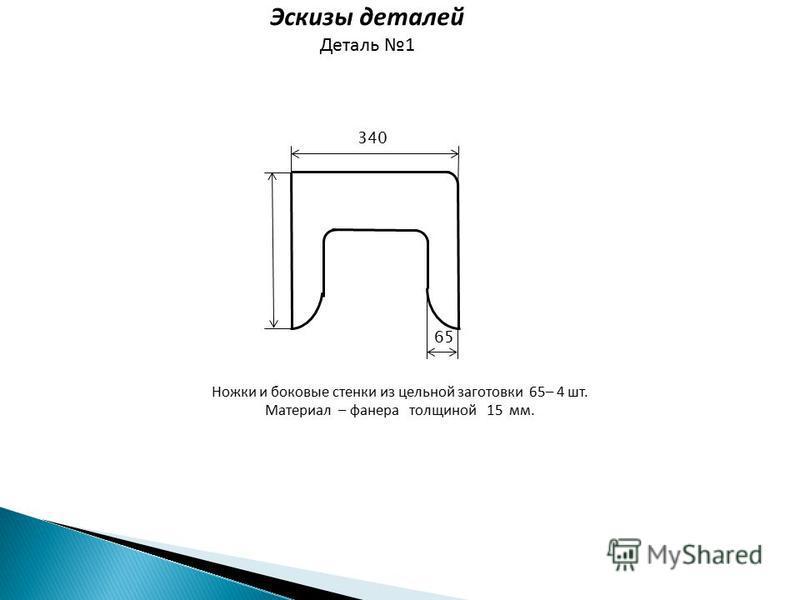 Эскизы деталей Деталь 1 Ножки и боковые стенки из цельной заготовки 65– 4 шт. Материал – фанера толщиной 15 мм. 65 340
