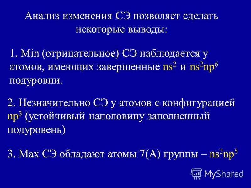 Анализ изменения СЭ позволяет сделать некоторые выводы: 1. Min (отрицательное) СЭ наблюдается у атомов, имеющих завершенные ns 2 и ns 2 np 6 подуровни. 2. Незначительно СЭ у атомов с конфигурацией np 3 (устойчивый наполовину заполненный подуровень) 3
