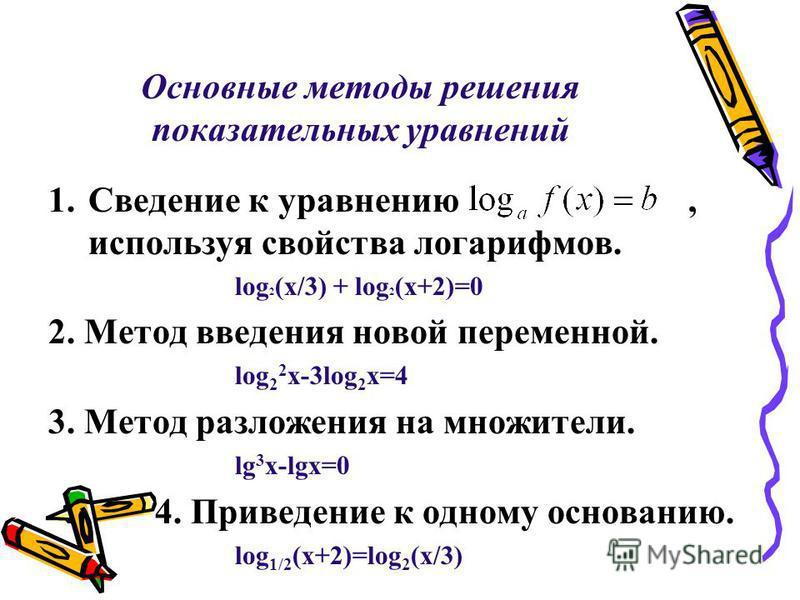 Основные методы решения показательных уравнений 1. Сведение к уравнению, используя свойства логарифмов. log 2 (x/3) + log 2 (x+2)=0 2. Метод введения новой переменной. log 2 2 x-3log 2 x=4 3. Метод разложения на множители. lg 3 x-lgx=0 4. Приведение
