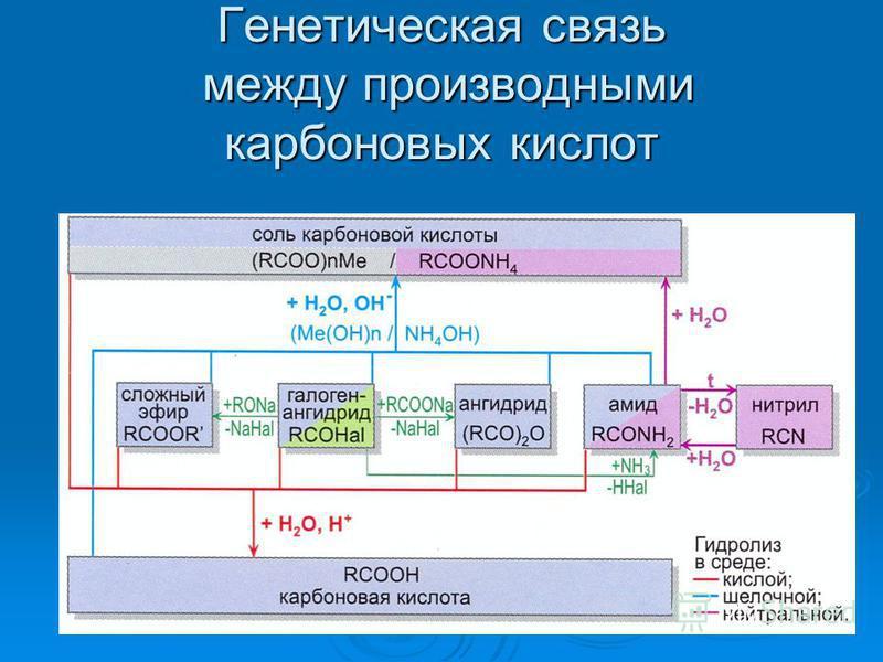 Генетическая связь между производными карбоновых кислот