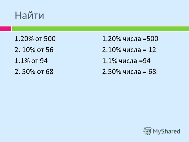 Найти 1.20% от 500 2. 10% от 56 1.1% от 94 2. 50% от 68 1.20% числа =500 2.10% числа = 12 1.1% числа =94 2.50% числа = 68