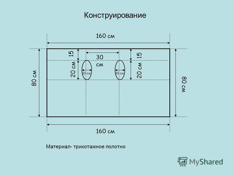 Конструирование Материал- трикотажное полотно 160 см 30 см 20 см 80 см 15 10 см 160 см 15
