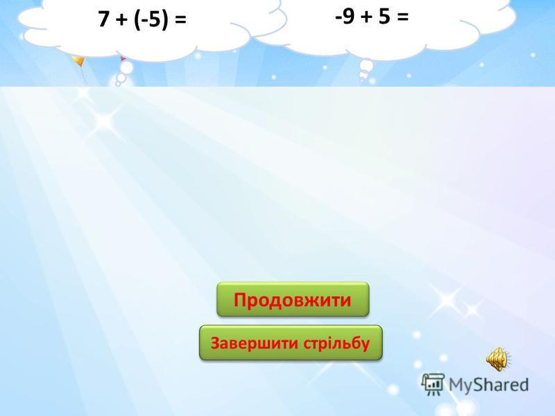 12 4 4 -4 -12 1 1 11 -11 Продовжити Завершити стрільбу -8 + 4 = -6 + (-5) =