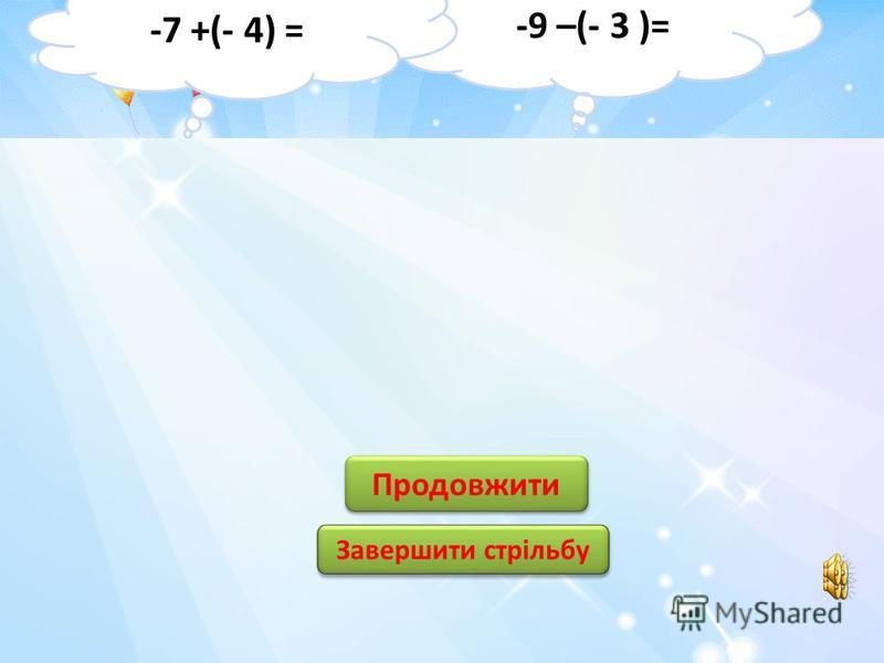 14 4 4 -4 - 14 2 2 - 12 12 -2 Продовжити Завершити стрільбу -9 + 5 = 7 + (-5) =
