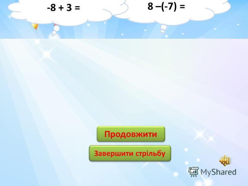 15 -15 3 3 -3 12 0 0 -12 2 2 Продовжити Завершити стрільбу -9 - 6 = 6 +(- 6) =