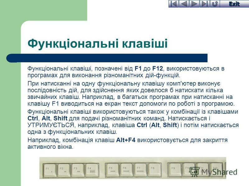 Exit Функціональні клавіші Функціональні клавіші, позначені від F1 до F12, використовуються в програмах для виконання різноманітних дій-функцій. При натисканні на одну функціональну клавішу комп'ютер виконує послідовність дій, для здійснення яких дов