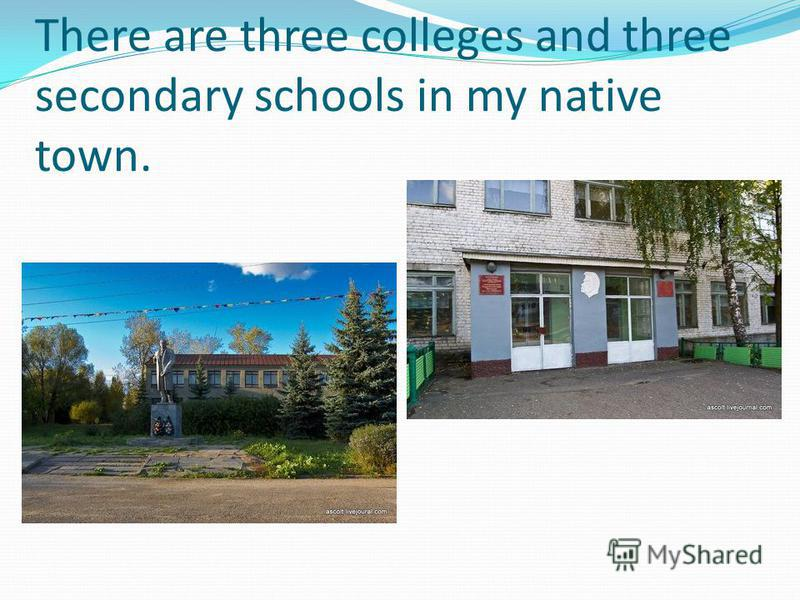 There are three colleges and three secondary schools in my native town.