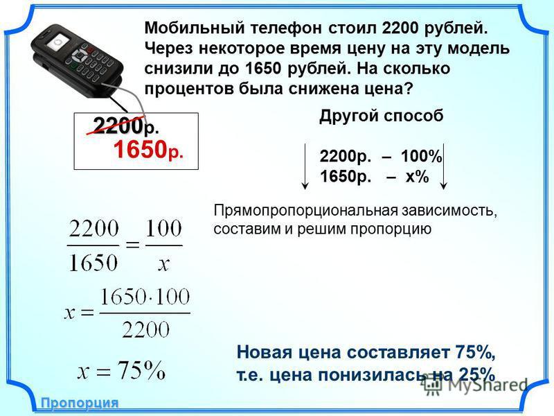 Новая цена составляет 75%, т.е. цена понизилась на 25% Пропорция Пропорция Другой способ 2200 р. – 100% 1650 р. – х% Прямопропорциональная зависимость, составим и решим пропорцию Мобильный телефон стоил 2200 рублей. Через некоторое время цену на эту