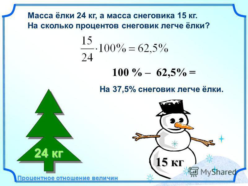 Масса ёлки 24 кг, а масса снеговика 15 кг. На сколько процентов снеговик легче ёлки? 15 кг 100 % – 62,5% = На 37,5% снеговик легче ёлки. 24 кг Процентное отношение величин