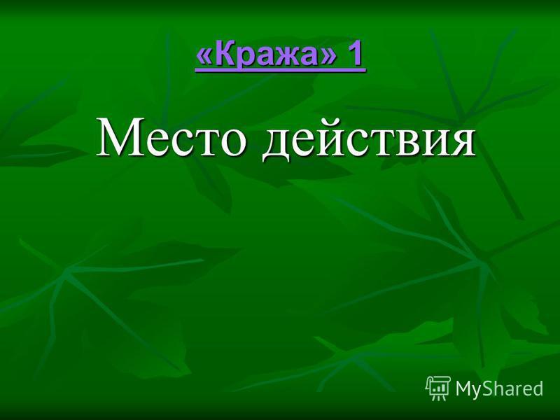 «Кража» 1 «Кража» 1 Место действия