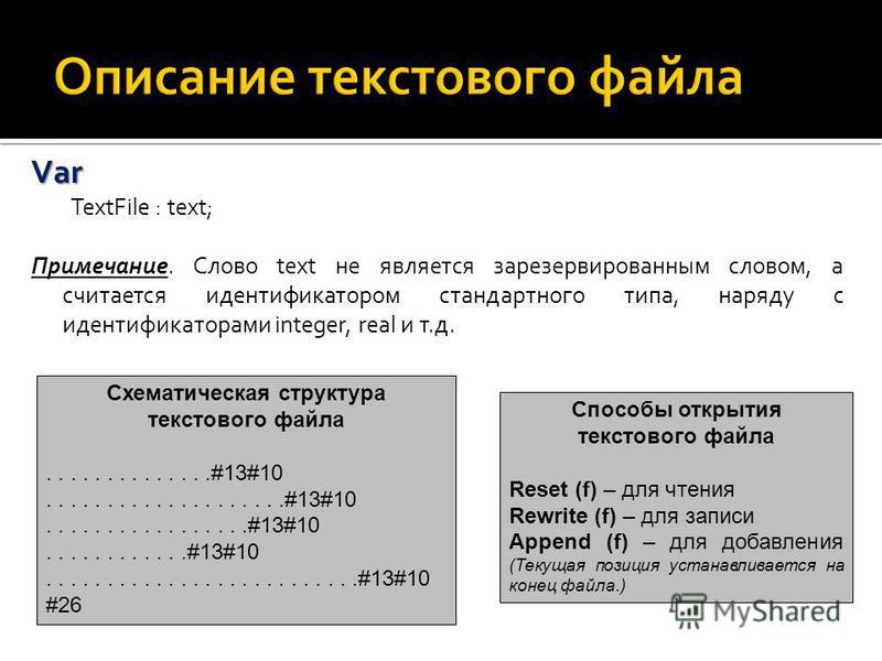 Var Var TextFile : text; Примечание. Слово text не является зарезервированным словом, а считается идентификатором стандартного типа, наряду с идентификаторами integer, real и т.д. Схематическая структура текстового файла..............#13#10..........