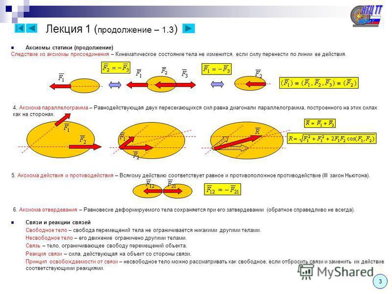 Лекция 1 ( продолжение – 1.2 ) Теоретическая механика состоит из трех разделов: Статика – изучает условия относительного равновесия механических систем. Для осуществления равновесия необходимо определенное соотношение сил, поэтому в статике изучаются