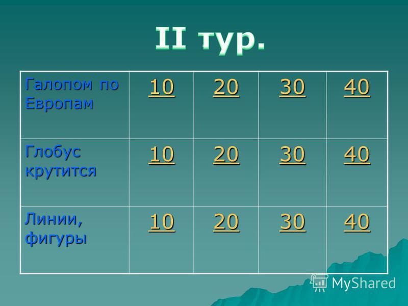 . Галопом по Европам 10 20 30 40 Глобус крутится 10 20 30 40 Линии, фигуры 10 20 30 40