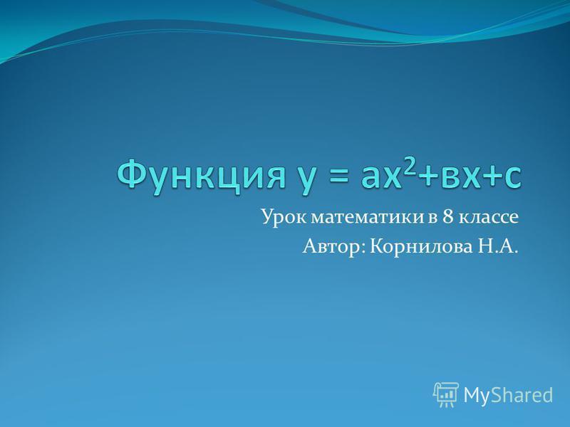 Урок математики в 8 классе Автор: Корнилова Н.А.