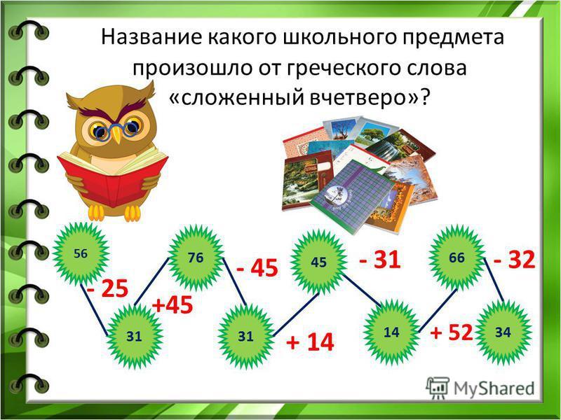31 56 76 31 45 14 66 34 - 25 +45 - 45 + 14 - 31 + 52 - 32 Название какого школьного предмета произошло от греческого слова «сложенный вчетверо»?