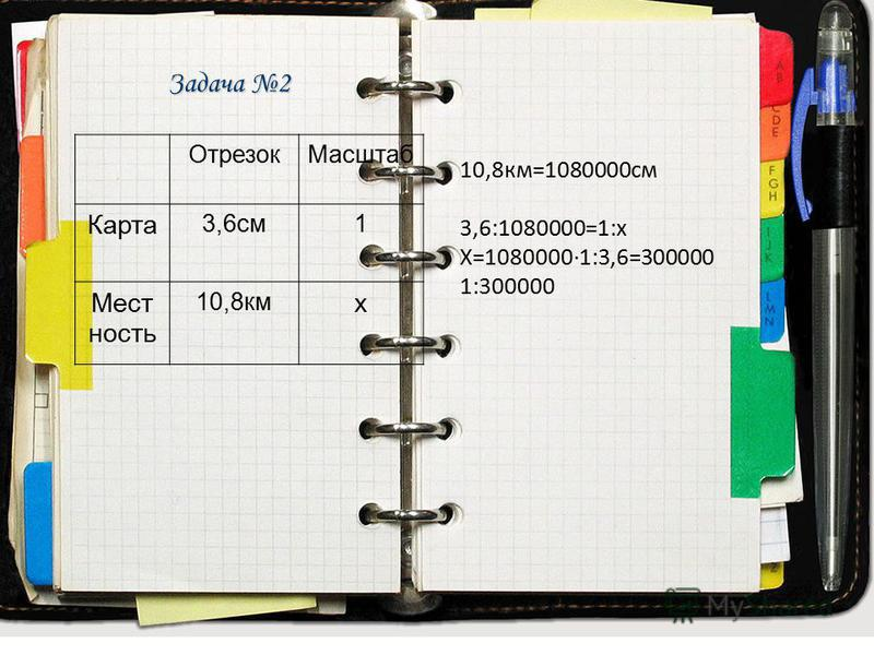 Отрезок Масштаб Карта 3,6 см 1 Местность 10,8 кмх Задача 2 Отрезок Масштаб Карта 3,6 см 1 Мест ность 10,8 км х 10,8 км=1080000 см 3,6:1080000=1:х Х=1080000·1:3,6=300000 1:300000