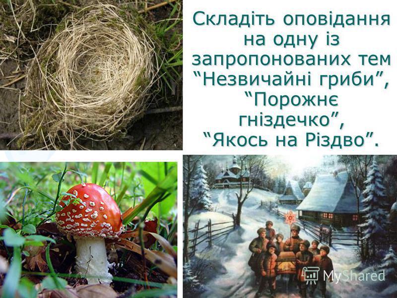 Складіть оповідання на одну із запропонованих тем Незвичайні гриби, Порожнє гніздечко, Якось на Різдво.