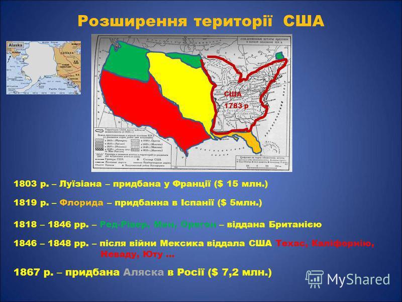 Розширення території США 1803 р. – Луїзіана – придбана у Франції ($ 15 млн.) 1819 р. – Флорида – придбанна в Іспанії ($ 5млн.) 1818 – 1846 рр. – Ред-Рівер, Мен, Орегон – віддана Британією США 1783 р. 1846 – 1848 рр. – після війни Мексика віддала США