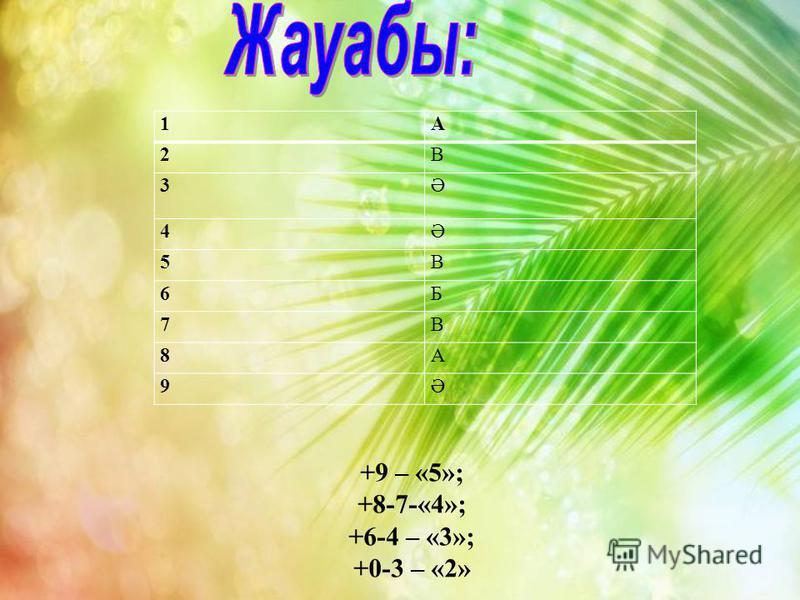 1А 2В 3Ә 4Ә 5В 6Б 7В 8А 9Ә +9 – «5»; +8-7-«4»; +6-4 – «3»; +0-3 – «2»