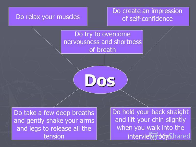 Dos Do try to overcome nervousness and shortness of breath Do take a few deep breaths and gently shake your arms and legs to release all the tension Do relax your muscles Do create an impression of self-confidence Do hold your back straight and lift