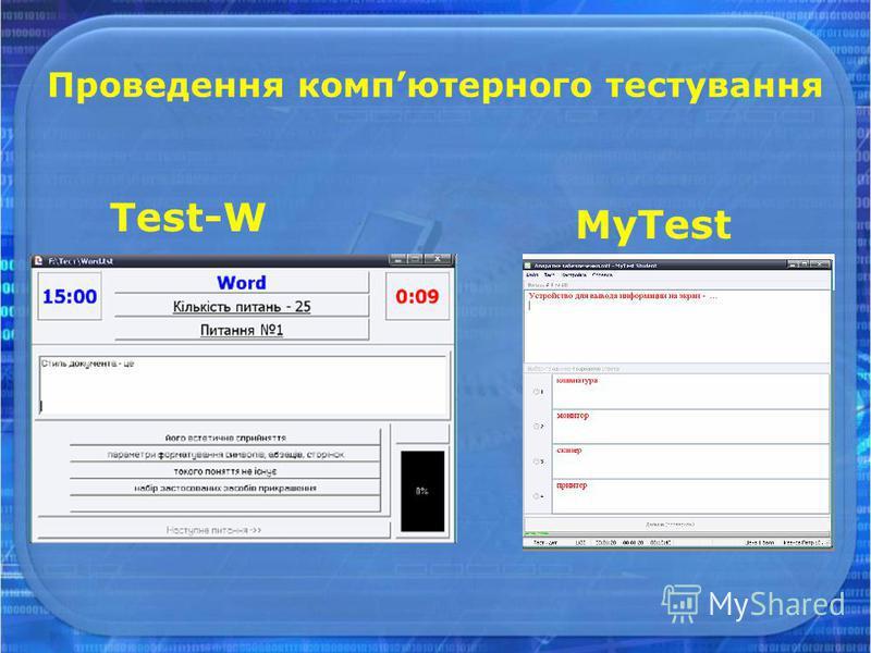Проведення компютерного тестування Test-W MyTest
