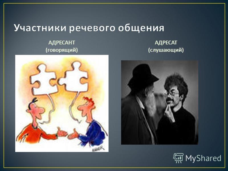 АДРЕСАНТ ( говорящий ) АДРЕСАТ ( слушающий )