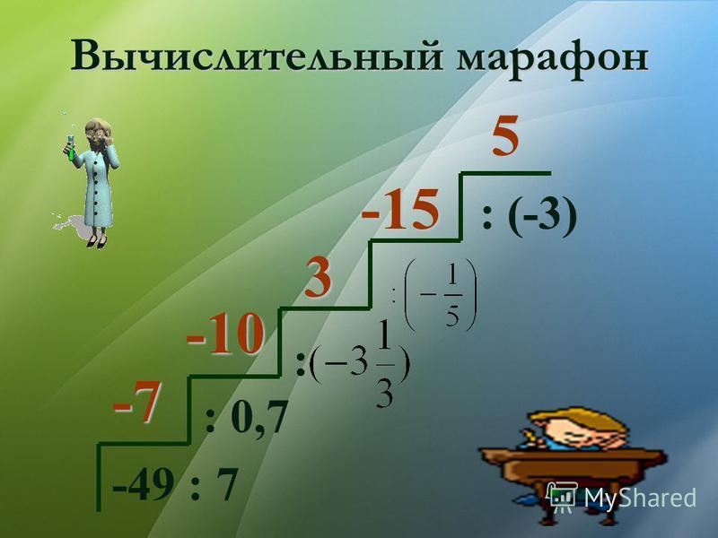 Вычислительный марафон -49 : 7 : 0,7 : : (-3) -7 -10 3 -15 5