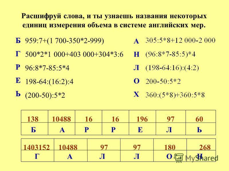 Расшифруй слова, и ты узнаешь названия некоторых единиц измерения объема в системе английских мер. 959:7+(1 700-350*2-999) 500*2*1 000+403 000+304*3:6 96:8*7-85:5*4 198-64:(16:2):4 (200-50):5*2 1381048816 1969760 14031521048897 180268 Б Г Р Е Ь А Н Л