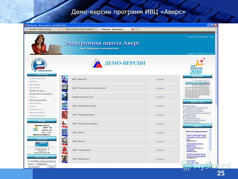 Демо-версии программ ИВЦ «Аверс» 25
