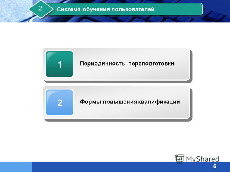 1 Периодичность переподготовки 2 Формы повышения квалификации Система обучения пользователей 2 6